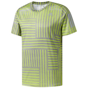 adidas Men's Response Running Printed T-Shirt - Yellow/Grey
