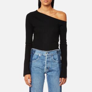 Helmut Lang Women's Asymmetric Shoulder Soft Wool Top - Black
