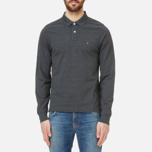 Tommy Hilfiger Men's Slim Fit Tipped Long Sleeve Polo Shirt - Charcoal Heather