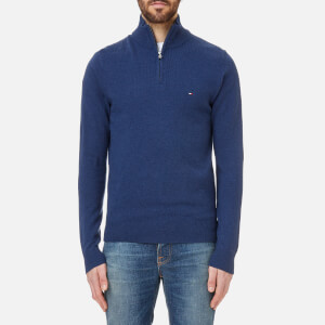 Tommy Hilfiger Men's Liam Lambswool Half Zip Knitted Jumper - Estate Blue Heather