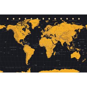 World Map Gold World Map - 61 x 91.5cm Maxi Poster