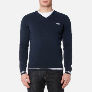 BOSS Green Men's Vime V Neck Knitted Jumper - Navy