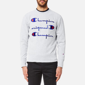 Champion Men's Crew Neck 3 Logo Sweatshirt - Grey Marl