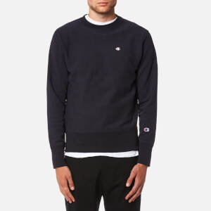 Champion Men's Small Chest Logo Sweatshirt - Navy