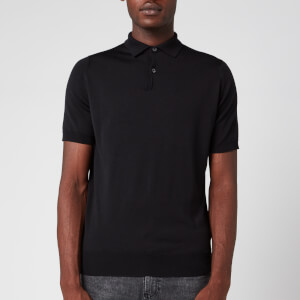 John Smedley Men's Payton 30 Gauge Merino Short Sleeve Polo Shirt - Black