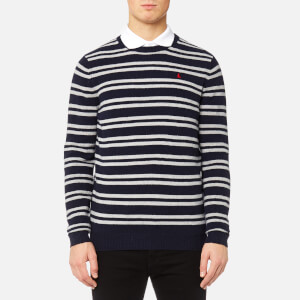 MUSTO Men's Lune Crew Neck Knitted Jumper - True Navy/Sail White