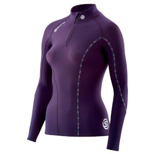 Skins Women's DNAmic Thermal Mock Neck Zip Long Sleeve Top - Purple