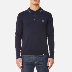 Pretty Green Men's Tilson Long Sleeve Knitted Polo Shirt - Navy