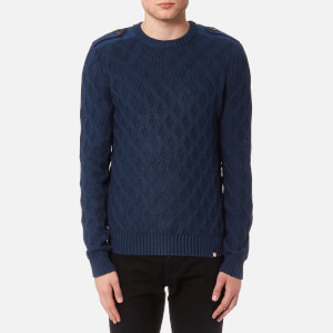 Pretty Green Men's Hertford Crew Neck Knitted Jumper - Navy