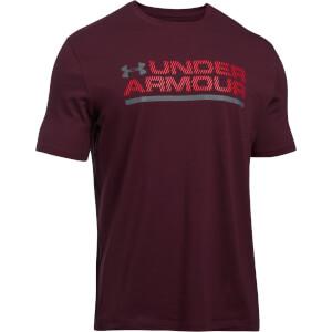 Under Armour Men's Wordmark Lock Up T-Shirt - Burgundy