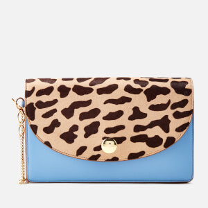 Diane von Furstenberg Women's Leopard Saddle Evening Clutch Bag - Powder Blue