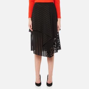 Diane von Furstenberg Women's Front Ruffle Midi Skirt - Black