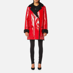 Christopher Kane Women's Patent Shearling Hip Length Coat - Black/Red