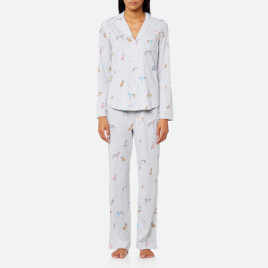 Joules Women's Astrid Printed Jersey Pyjama Set - Grey Marl Chic Dogs
