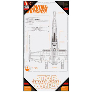 Affiche en Verre Star Wars Épisode VII X - Wing Fighter (50 x 25cm)