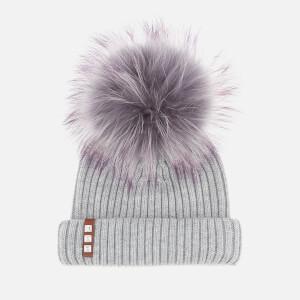 BKLYN Women's Merino Wool Hat with Grey/Purple Pom Pom - Light Grey