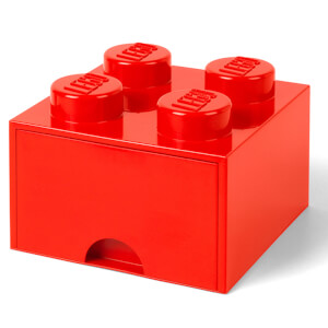 LEGO Storage 4 Knob Brick - 1 Drawer (Bright Red)