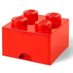 Ladrillo de almacenamiento LEGO (4 espigas) - 1 cajón - Rojo