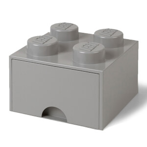 LEGO Storage 4 Knob Brick - 1 Drawer (Medium Stone Grey)