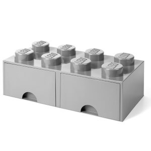 LEGO Storage 8 Knob Brick - 2 Drawers (Medium Stone Grey)