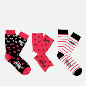 Superdry Women's Palm Flower Triple Pack Socks - Black/White/Pink