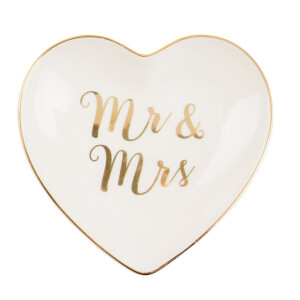 Sass & Belle Mr & Mrs Gold Heart Trinket Dish