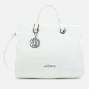 Armani Exchange Women's Structured Patent Tote Bag - White