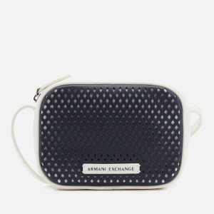 Armani Exchange Women's Perforated Cross Body Bag - Navy/White