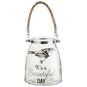 Beautiful Day Glass Lantern - Rope Handle