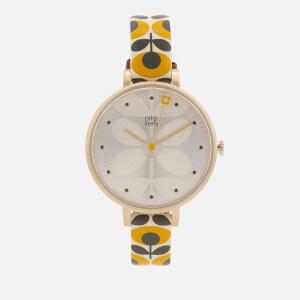 Orla Kiely Women's Ivy Print Leather Watch - Yellow