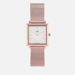 Henry London Women's Heritage Square Link Watch - Rose Gold