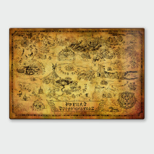 Nintendo Legend Of Zelda Map Chromalux High Gloss Metal Poster