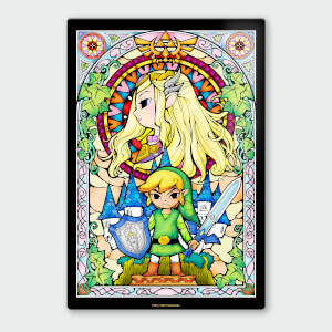 "Póster Chromaluxe Metal Brillante Nintendo ""The Legend of Zelda Link y Zelda"""