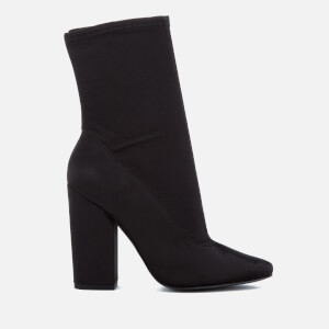 Kendall + Kylie Women's Hailey Stretch Satin Sock Heeled Boots - Black