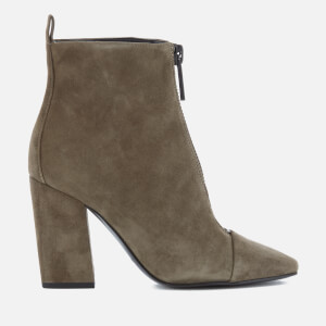 Kendall + Kylie Women's Raquel Suede Zip Front Heeled Ankle Boots - Olive