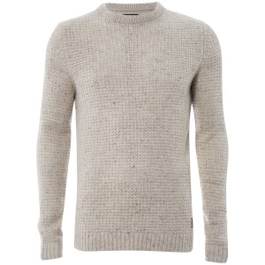 Threadbare Men's Copenhagen Chunky Crew Neck Jumper - Stone Nep