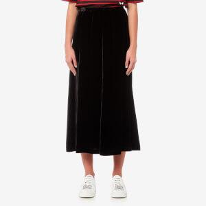 McQ Alexander McQueen Women's Velvet Fluid Skirt - Black
