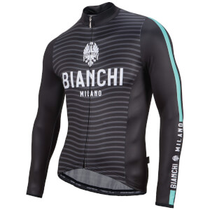 Bianchi Cei Long Sleeve Jersey - Black/Celeste