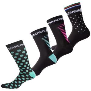 Bianchi Penice Socks - Black/Celeste Dots