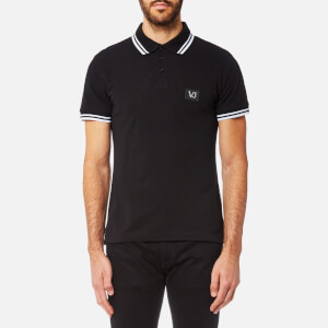 Versace Jeans Men's Small Patch Logo Tipped Polo Shirt - Nero