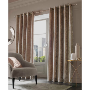 Sienna Eyelet Crushed Velvet Curtains - Natural