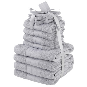 Highams 100% Cotton 12 Piece Towel Bale (500GSM) - Silver