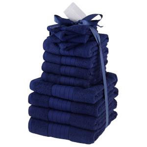 Highams 100% Cotton 12 Piece Towel Bale (500GSM) - Navy