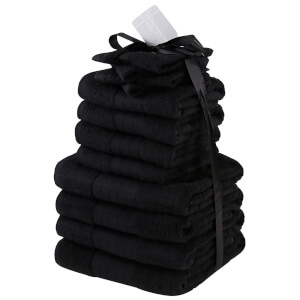 Highams 100% Cotton 12 Piece Towel Bale (500GSM) - Black