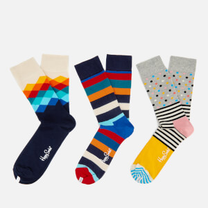 Happy Socks Mens Mixed 3 Pack Socks - Multi - UK 7.5-11.5