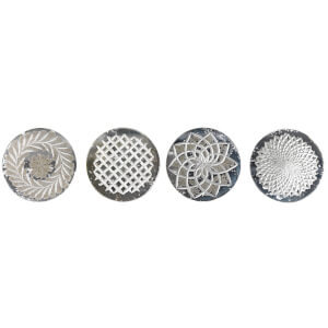 Nkuku Avani Etched Glass Coasters - Antique Silver (Set of 4)