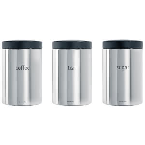 Brabantia Tea, Coffee Sugar Canister Set - Brilliant Steel