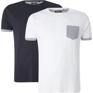 Brave Soul Men's 2 Pack Pyramid Pocket T-Shirt - White/Navy