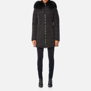 Froccella Women's Long Coat With Coloured Big Fur Collar - Black