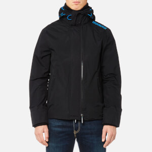 Superdry Men's Tech Hood Pop Zip Windcheater Jacket - Black/Super Denby